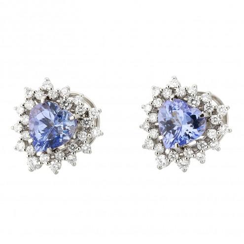 Сережки з діамантами та кольоровим камінням 982-1309
