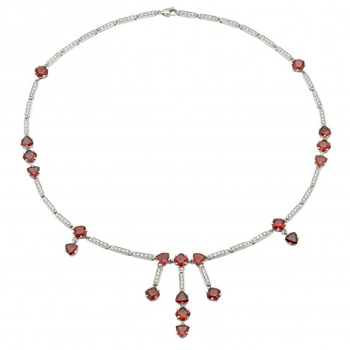Кольє з діамантами та кольоровим камінням 987-0044