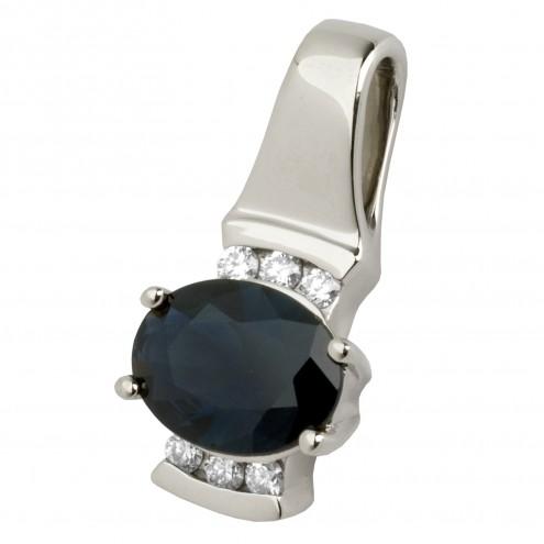 Підвіска з діамантами та кольоровим камінням 989-0296