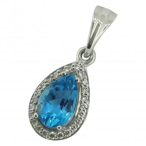 Підвіска з діамантами та кольоровим камінням 989-0409