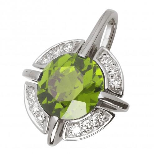 Підвіска з діамантами та кольоровим камінням 989-0470