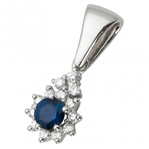 Підвіска з діамантами та кольоровим камінням 989-0616