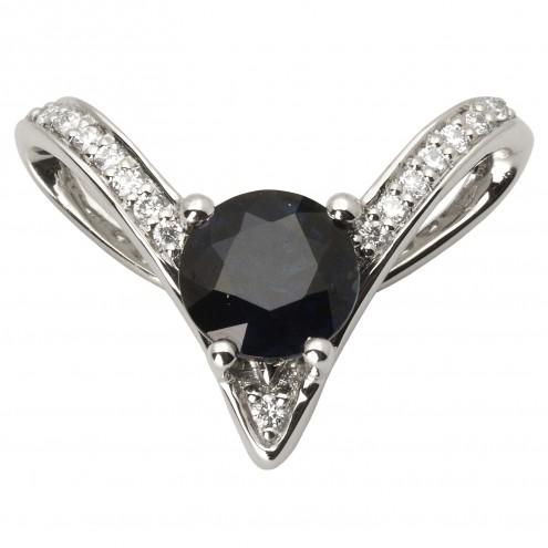 Підвіска з діамантами та кольоровим камінням 989-0702