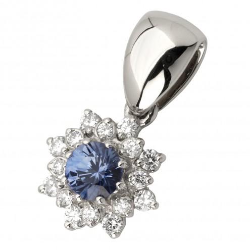 Підвіска з діамантами та кольоровим камінням 989-0724
