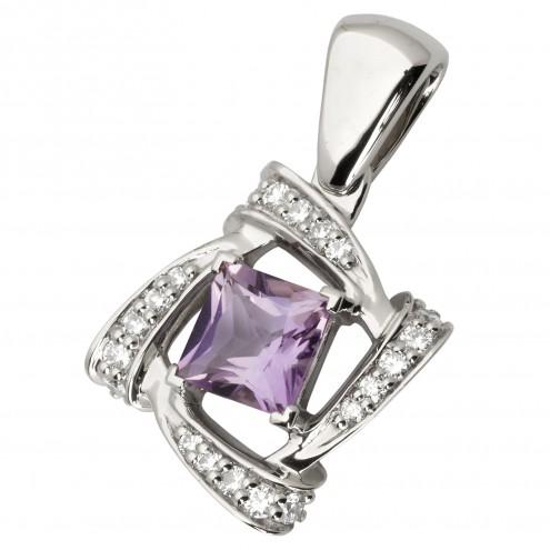 Підвіска з діамантами та кольоровим камінням 989-0745
