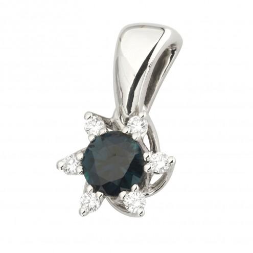 Підвіска з діамантами та кольоровим камінням 989-0814