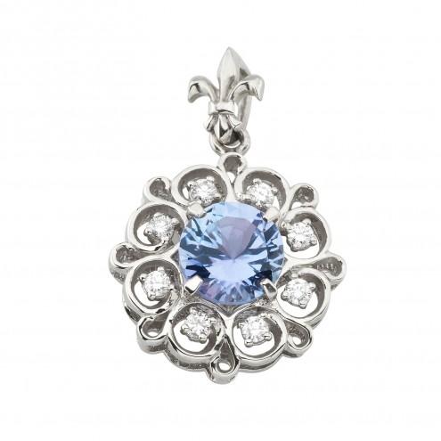 Підвіска з діамантами та кольоровим камінням 989-0863