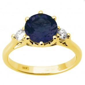 Каблучка з діамантами та кольоровим камінням 081-1813