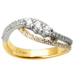 Каблучка з декількома діамантами 341-1673