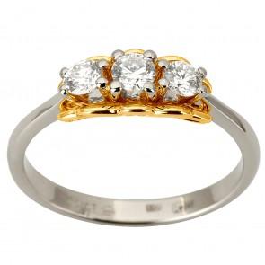 Каблучка з декількома діамантами 341-1884