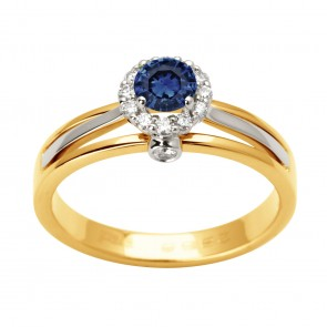 Каблучка з діамантами та кольоровим камінням 381-1667
