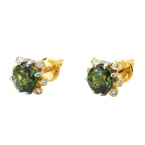 Сережки з діамантами та кольоровим камінням 382-1064