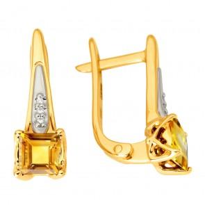 Сережки з діамантами та кольоровим камінням 382-1145