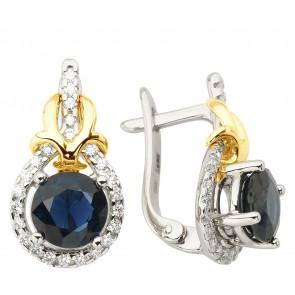 Сережки з діамантами та кольоровим камінням 382-1233