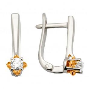 Сережки з 1 діамантом 822-0880