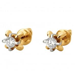 Сережки з 1 діамантом 822-0907