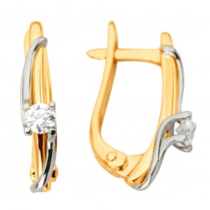 Сережки з 1 діамантом 822-1202
