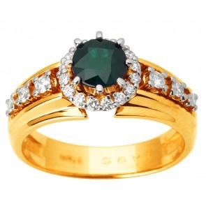Каблучка з діамантами та кольоровим камінням 881-1674