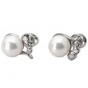 Сережки з перлиною та діамантами 962-0572