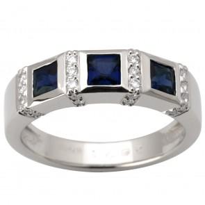 Каблучка з діамантами та кольоровим камінням 981-0599