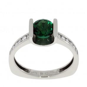 Каблучка з діамантами та кольоровим камінням 981-0651