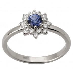 Каблучка з діамантами та кольоровим камінням 981-1770