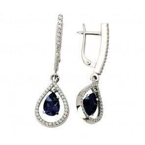 Сережки з діамантами та кольоровим камінням 982-0698