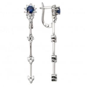 Сережки з діамантами та кольоровим камінням 982-0921