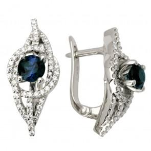 Сережки з діамантами та кольоровим камінням 982-0933