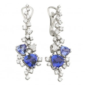 Сережки з діамантами та кольоровим камінням 982-1196