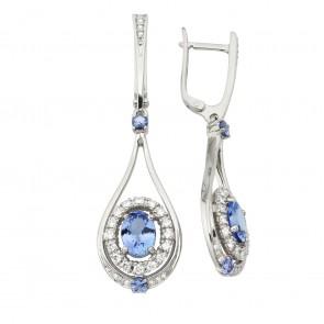 Сережки з діамантами та кольоровим камінням 982-1249
