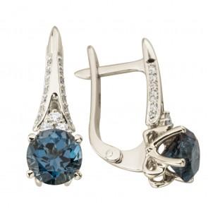 Сережки з діамантами та кольоровим камінням 982-1257
