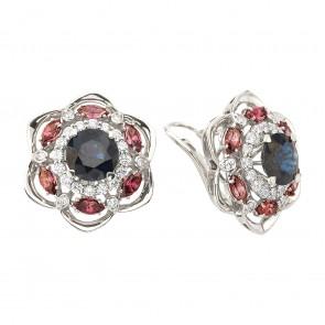 Сережки з діамантами та кольоровим камінням 982-1347