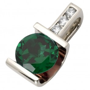 Підвіска з діамантами та кольоровим камінням 989-0472