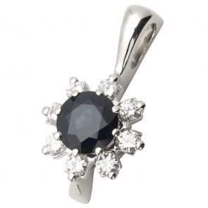 Підвіска з діамантами та кольоровим камінням 989-0550